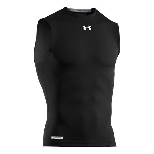 Mens Under Armour Heatgear Sonic Compression T Sleeveless Technical Tops - Black/White L