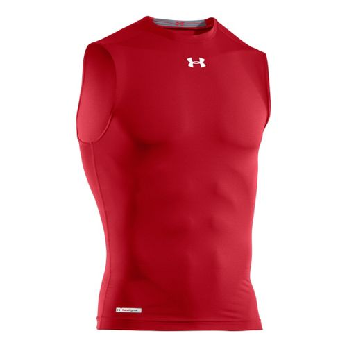 Mens Under Armour Heatgear Sonic Compression T Sleeveless Technical Tops - Red/White M