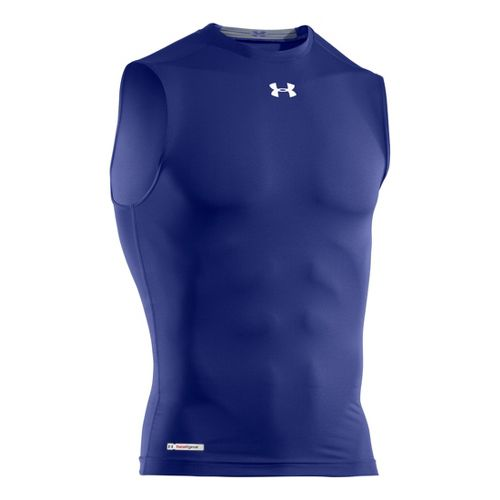 Mens Under Armour Heatgear Sonic Compression T Sleeveless Technical Tops - Royal/White XXL