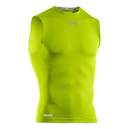 Mens Under Armour Heatgear Sonic Compression T Sleeveless Technical Tops - Velocity/Steel L