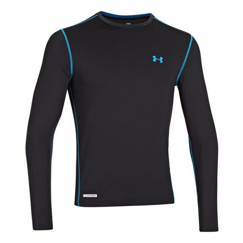 Mens Under Armour Heatgear Sonic Fitted T Long Sleeve No Zip Technical Tops - Black/Electric ...