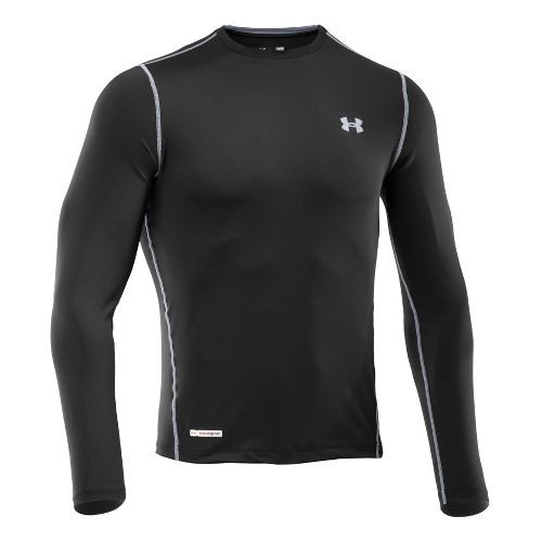Mens Under Armour Heatgear Sonic Fitted T Long Sleeve No Zip Technical Tops - Black/Steel ...