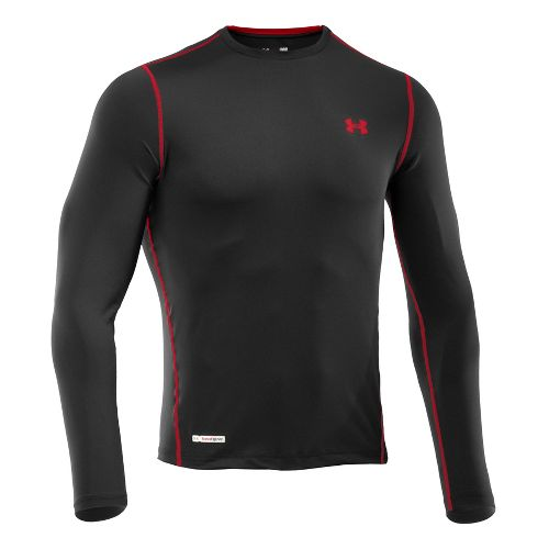 Mens Under Armour Heatgear Sonic Fitted T Long Sleeve No Zip Technical Tops - Black/Tropic ...