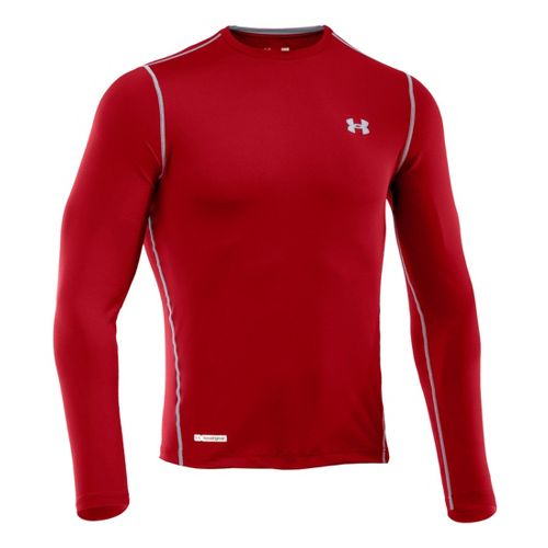 Mens Under Armour Heatgear Sonic Fitted T Long Sleeve No Zip Technical Tops - Red/Steel ...