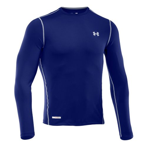 Mens Under Armour Heatgear Sonic Fitted T Long Sleeve No Zip Technical Tops - Royal/Steel ...