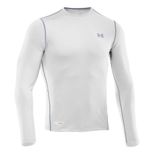 Mens Under Armour Heatgear Sonic Fitted T Long Sleeve No Zip Technical Tops - White/Steel ...