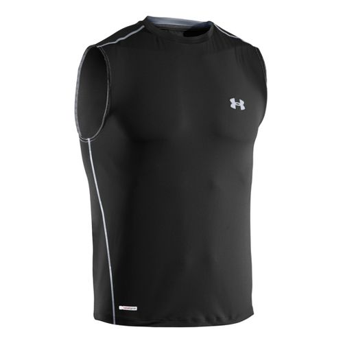Mens Under Armour Heatgear Sonic Fitted T Sleeveless Technical Tops - Black/Steel L