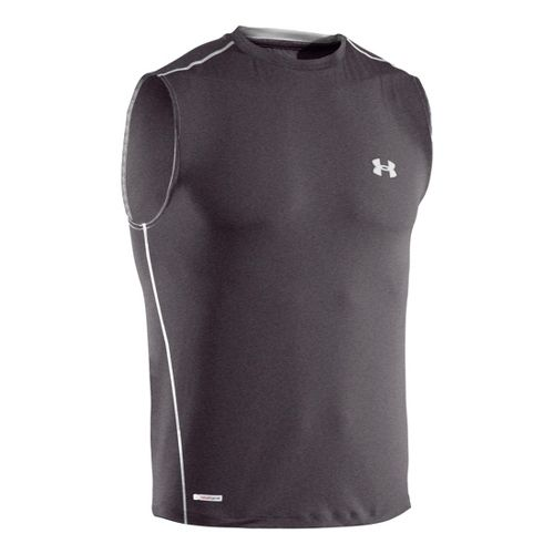 Mens Under Armour Heatgear Sonic Fitted T Sleeveless Technical Tops - Carbon Heather/White 3X