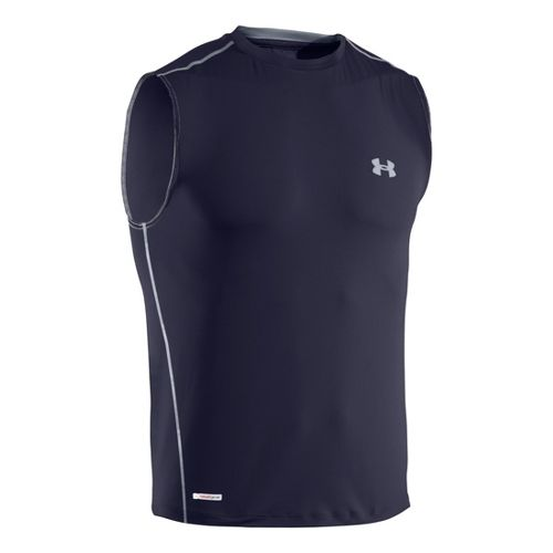 Mens Under Armour Heatgear Sonic Fitted T Sleeveless Technical Tops - Midnight Navy/Steel L