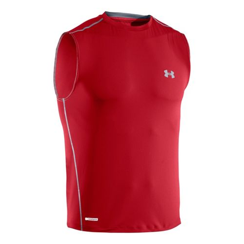 Mens Under Armour Heatgear Sonic Fitted T Sleeveless Technical Tops - Red/Steel L