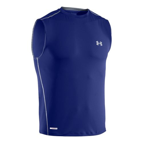 Mens Under Armour Heatgear Sonic Fitted T Sleeveless Technical Tops - Royal/Steel M