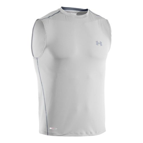 Mens Under Armour Heatgear Sonic Fitted T Sleeveless Technical Tops - White/Steel XL