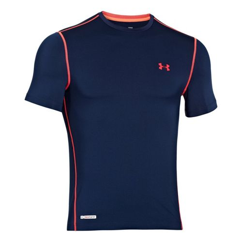 Mens Under Armour Heatgear Sonic Fitted T Short Sleeve Technical Tops - Academy/Neo Pulse L ...