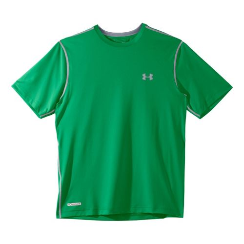 Mens Under Armour Heatgear Sonic Fitted T Short Sleeve Technical Tops - Astro Green/Aluminum S ...