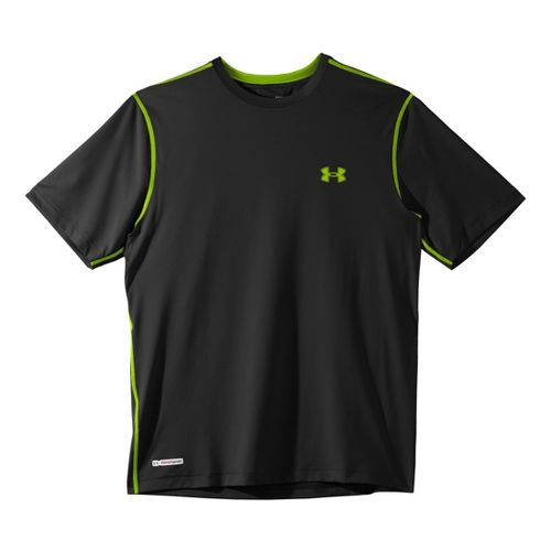 Mens Under Armour Heatgear Sonic Fitted T Short Sleeve Technical Tops - Black/Hyper Green S ...