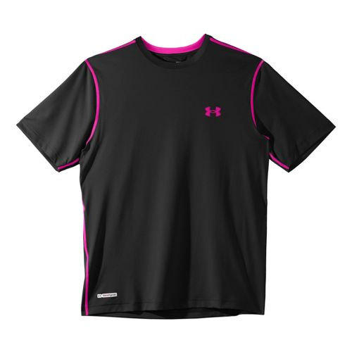 Mens Under Armour Heatgear Sonic Fitted T Short Sleeve Technical Tops - Black/Tropic Pink L ...