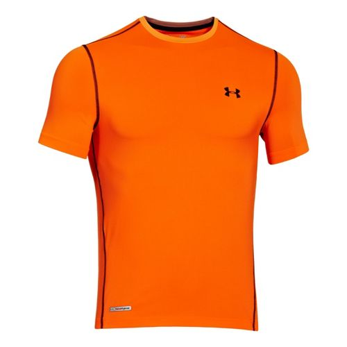 Mens Under Armour Heatgear Sonic Fitted T Short Sleeve Technical Tops - Blaze Orange/Black M ...