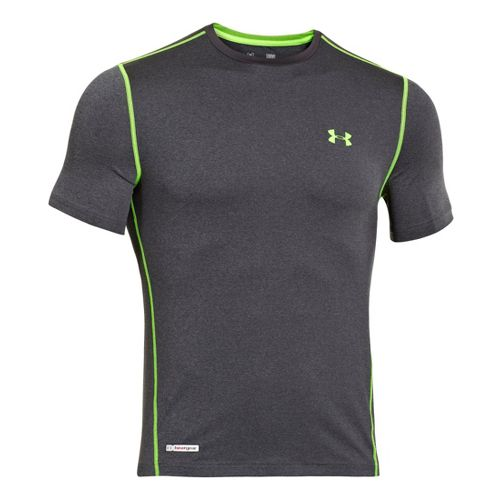 Mens Under Armour Heatgear Sonic Fitted T Short Sleeve Technical Tops - Carbon Heather/Hyper ...