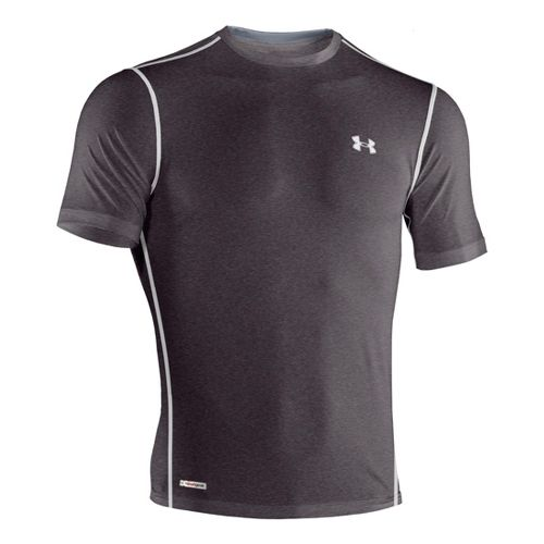 Mens Under Armour Heatgear Sonic Fitted T Short Sleeve Technical Tops - Carbon Heather/White L ...