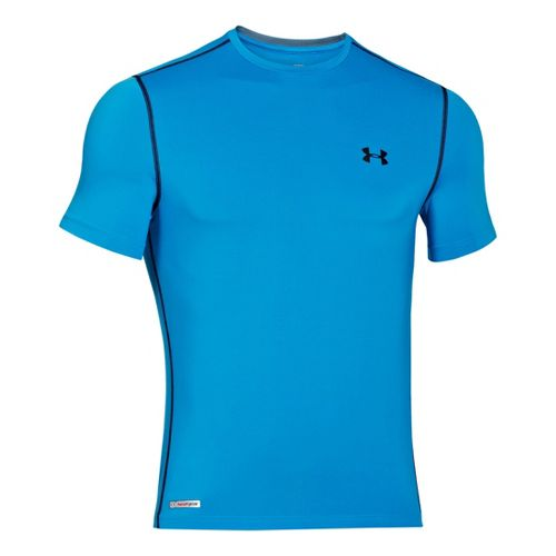Mens Under Armour Heatgear Sonic Fitted T Short Sleeve Technical Tops - Electric Blue/Black XXL ...
