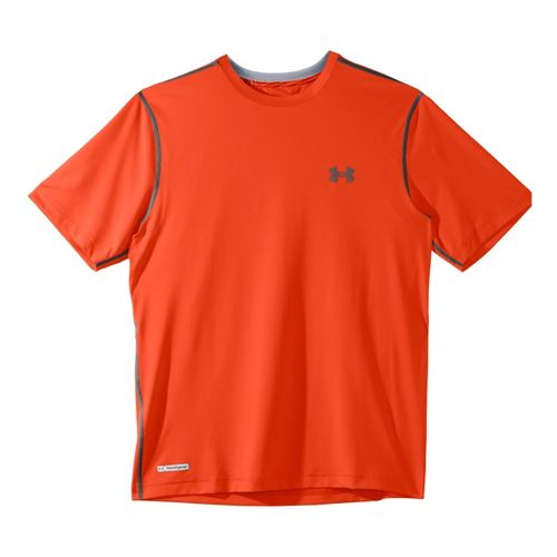 Mens Under Armour Heatgear Sonic Fitted T Short Sleeve Technical Tops - Explosive/Charcoal XL