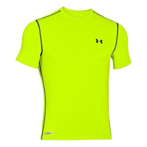 Mens Under Armour Heatgear Sonic Fitted T Short Sleeve Technical Tops - High Vis Yellow/Black ...