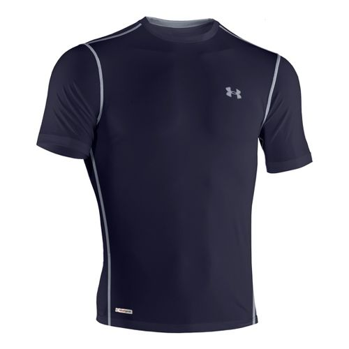 Mens Under Armour Heatgear Sonic Fitted T Short Sleeve Technical Tops - Midnight Navy/Steel 3X ...