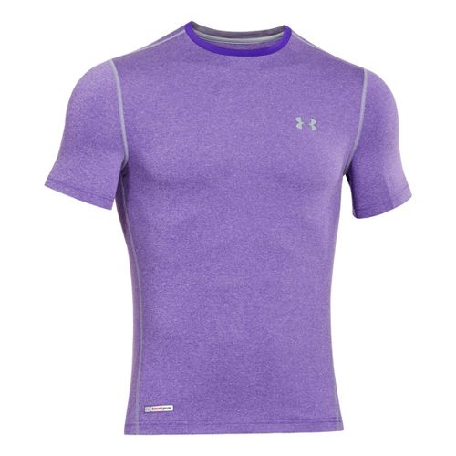 Mens Under Armour Heatgear Sonic Fitted T Short Sleeve Technical Tops - Pride/Steel S