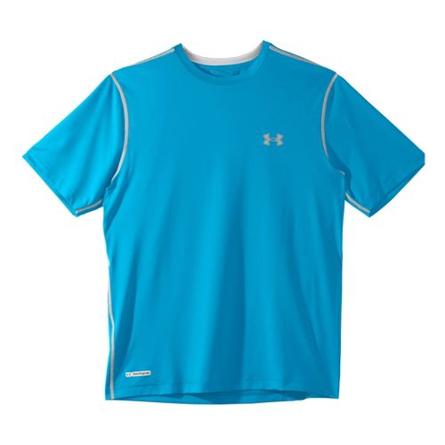 Mens Under Armour Heatgear Sonic Fitted T Short Sleeve Technical Tops - Prince Blue/Aluminum 3X ...