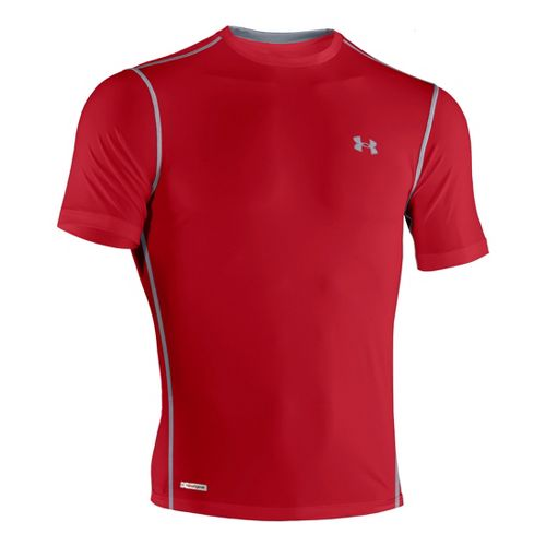 Mens Under Armour Heatgear Sonic Fitted T Short Sleeve Technical Tops - Red/Steel XXL