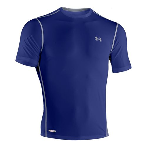 Mens Under Armour Heatgear Sonic Fitted T Short Sleeve Technical Tops - Royal/Steel XXL