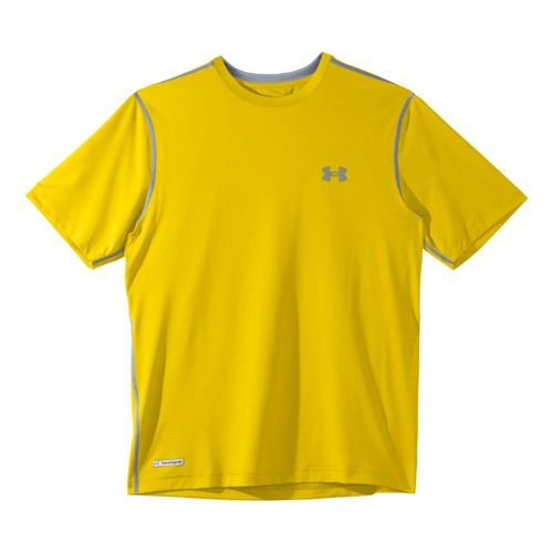 Mens Under Armour Heatgear Sonic Fitted T Short Sleeve Technical Tops - Solar/Steel M