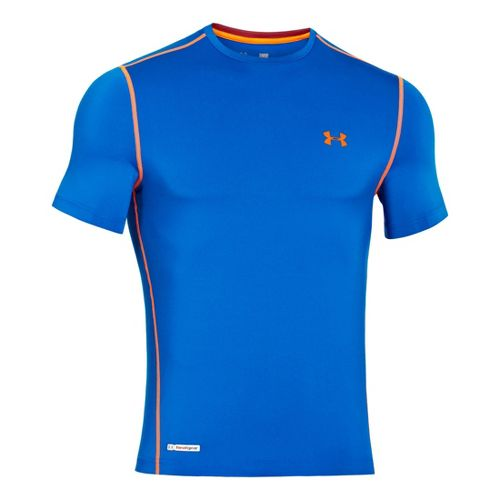 Mens Under Armour Heatgear Sonic Fitted T Short Sleeve Technical Tops - Superior Blue M ...