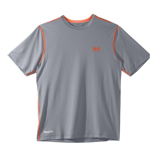 Mens Under Armour Heatgear Sonic Fitted T Short Sleeve Technical Tops - Steel/Explosive XL