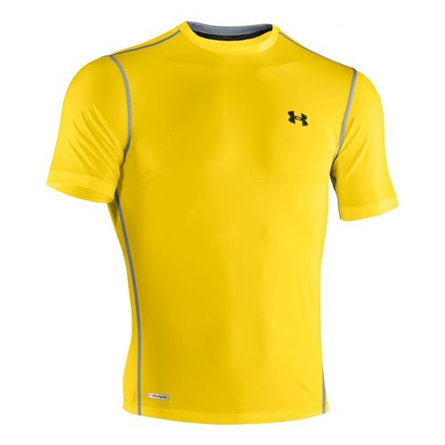 Mens Under Armour Heatgear Sonic Fitted T Short Sleeve Technical Tops - Taxi/Black XXL