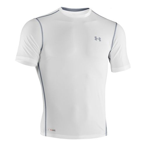 Mens Under Armour Heatgear Sonic Fitted T Short Sleeve Technical Tops - White/Steel XL