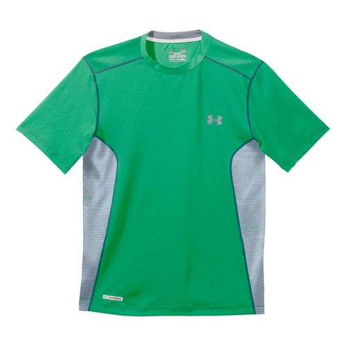 Mens Under Armour Heatgear Sonic Fitted Printed Short Sleeve Technical Tops - Astro Green/Steel ...
