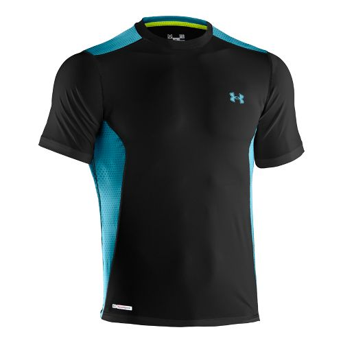 Mens Under Armour Heatgear Sonic Fitted Printed Short Sleeve Technical Tops - Black/Capri XL