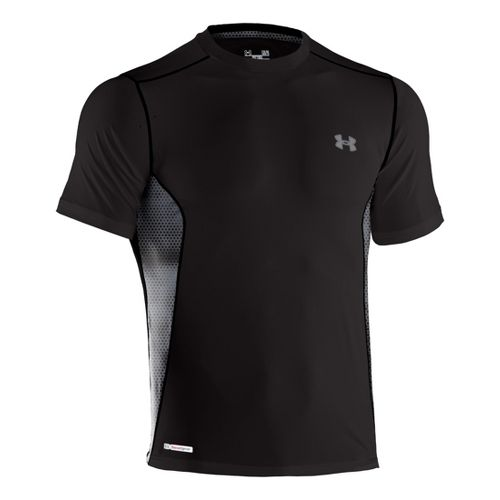 Mens Under Armour Heatgear Sonic Fitted Printed Short Sleeve Technical Tops - Black/Graphite XXL
