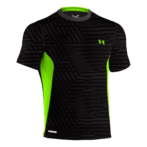 Mens Under Armour Heatgear Sonic Fitted Printed Short Sleeve Technical Tops - Black/Hyper Green ...