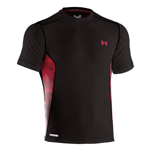Mens Under Armour Heatgear Sonic Fitted Printed Short Sleeve Technical Tops - Black/Red XXL