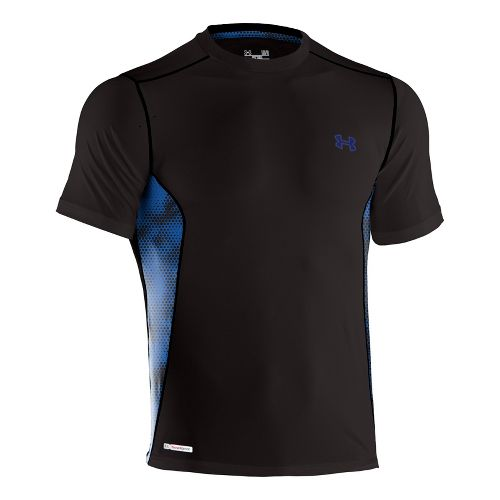 Mens Under Armour Heatgear Sonic Fitted Printed Short Sleeve Technical Tops - Black/Royal XXL