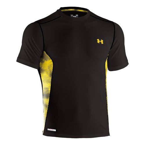 Mens Under Armour Heatgear Sonic Fitted Printed Short Sleeve Technical Tops - Black/Taxi 3X