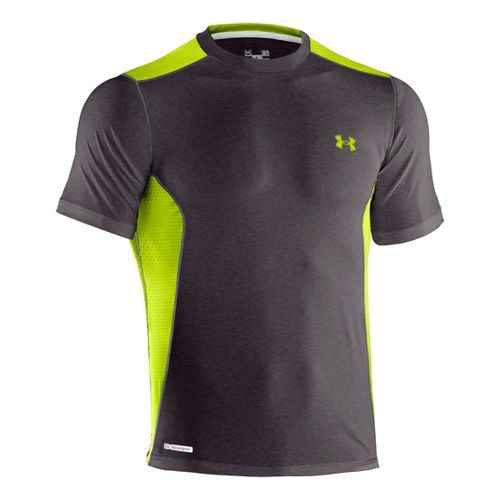 Mens Under Armour Heatgear Sonic Fitted Printed Short Sleeve Technical Tops - Carbon ...