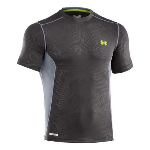 Mens Under Armour Heatgear Sonic Fitted Printed Short Sleeve Technical Tops - Charcoal/Steel 3X