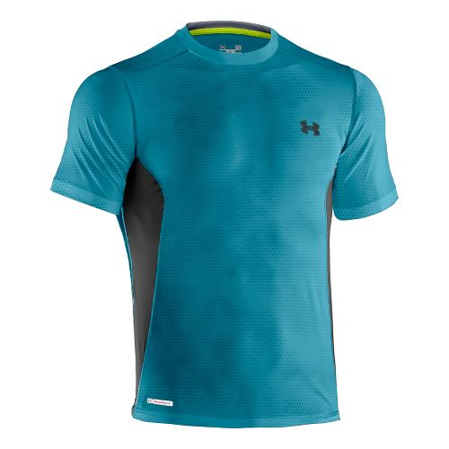 Mens Under Armour Heatgear Sonic Fitted Printed Short Sleeve Technical Tops - Capri/Black L