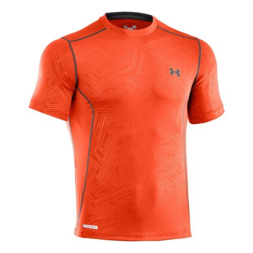 Mens Under Armour Heatgear Sonic Fitted Printed Short Sleeve Technical Tops - Explosive/Charcoal XL