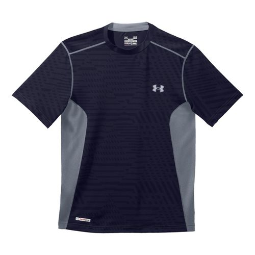 Mens Under Armour Heatgear Sonic Fitted Printed Short Sleeve Technical Tops - Midnight ...