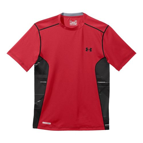 Mens Under Armour Heatgear Sonic Fitted Printed Short Sleeve Technical Tops - Red/Black XXL