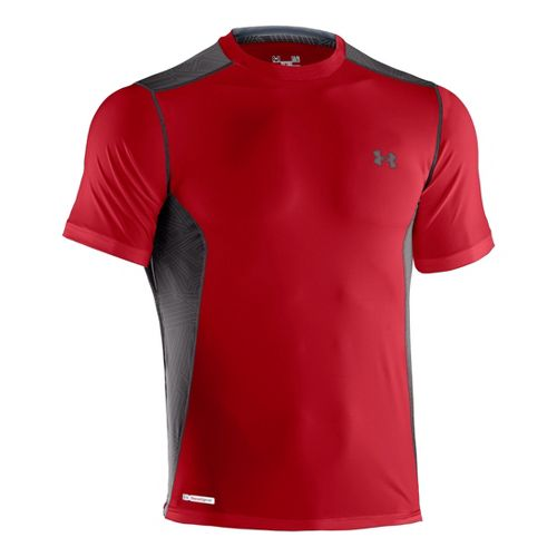Mens Under Armour Heatgear Sonic Fitted Printed Short Sleeve Technical Tops - Red/Charcoal L